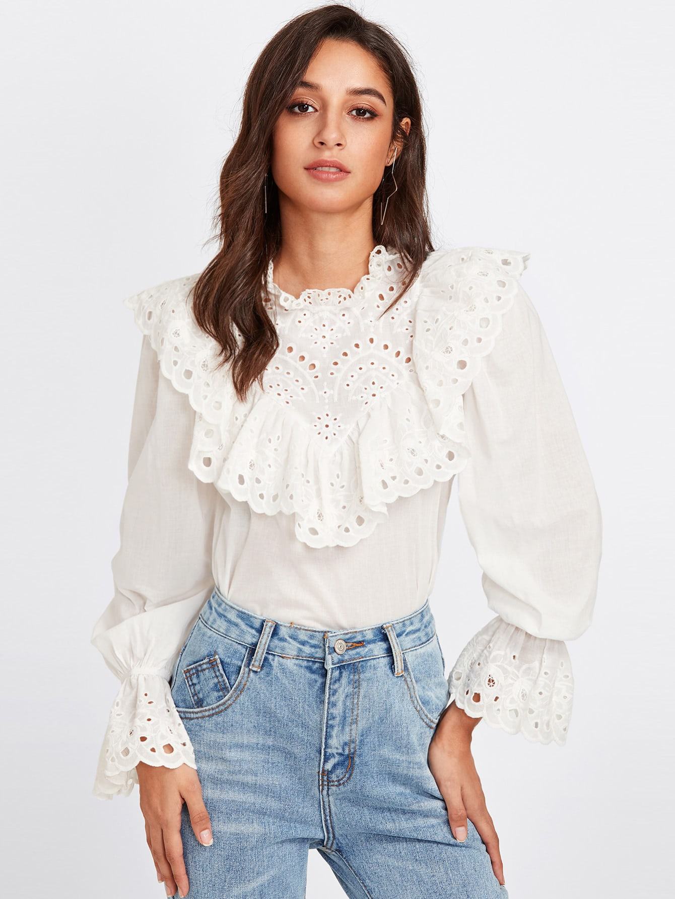 Eyelet Embroidered Ruffle And Bell Cuff Blouse men eyelet embroidered plain blouse