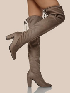 Round Toe Thigh High Boots SMOKE TAUPE