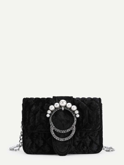 Faux Pearl Buckle Design Velvet Chain Bag