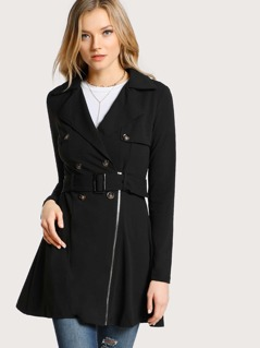 Long Sleeve Trench Coat BLACK