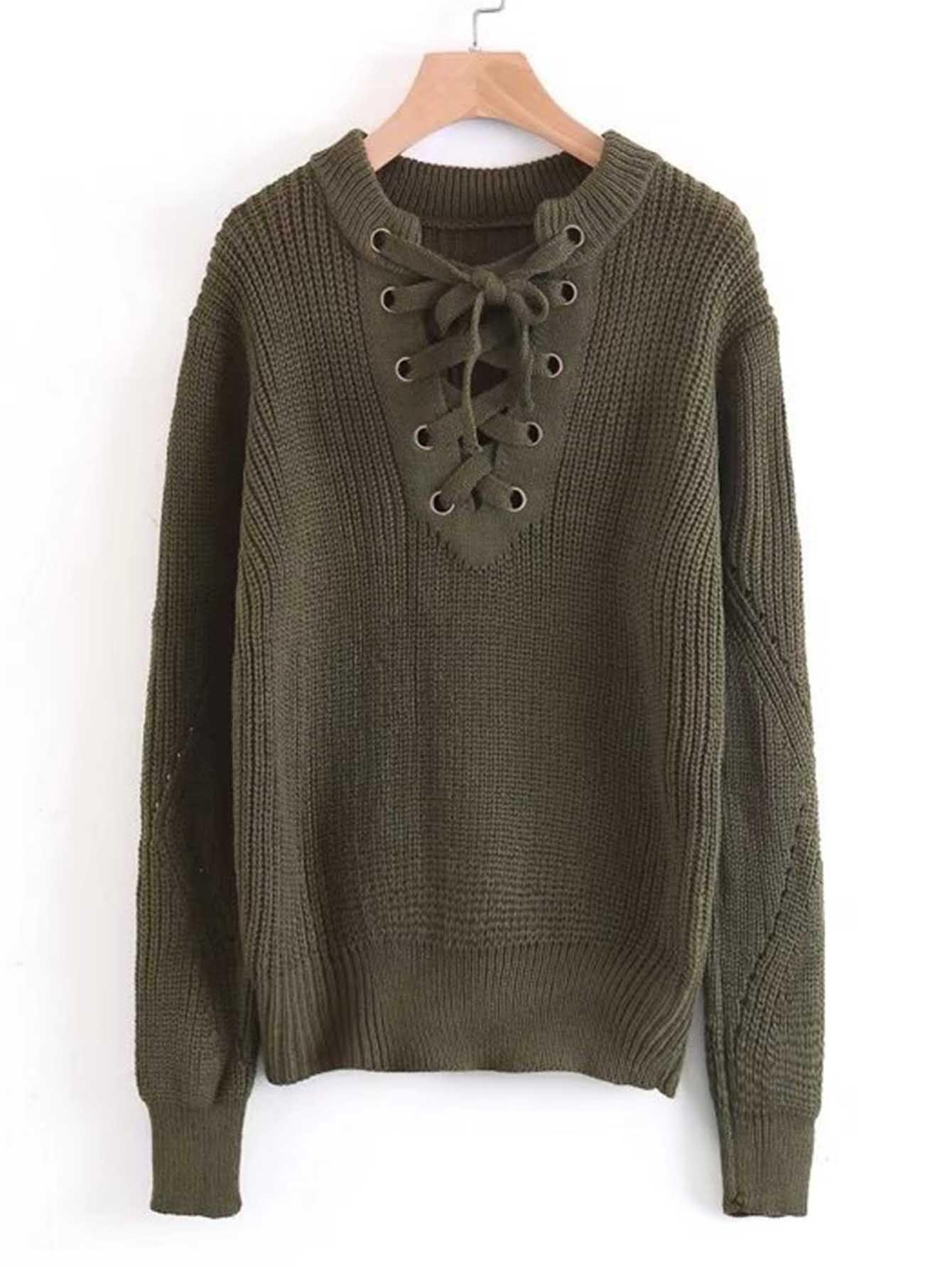 Lace Up V Neckline Drop Shoulder Sweater