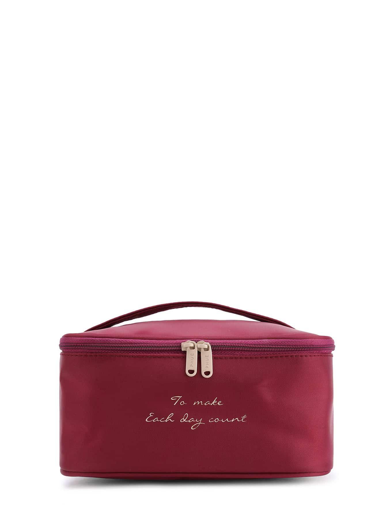 Slogan Print Double Zipper Makeup Bag