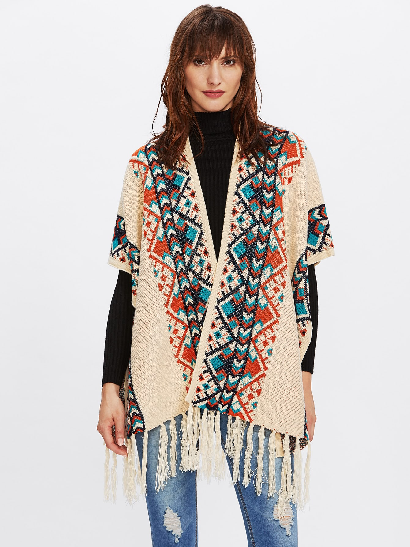 Fringe Trim Boho Cape sweater170927202