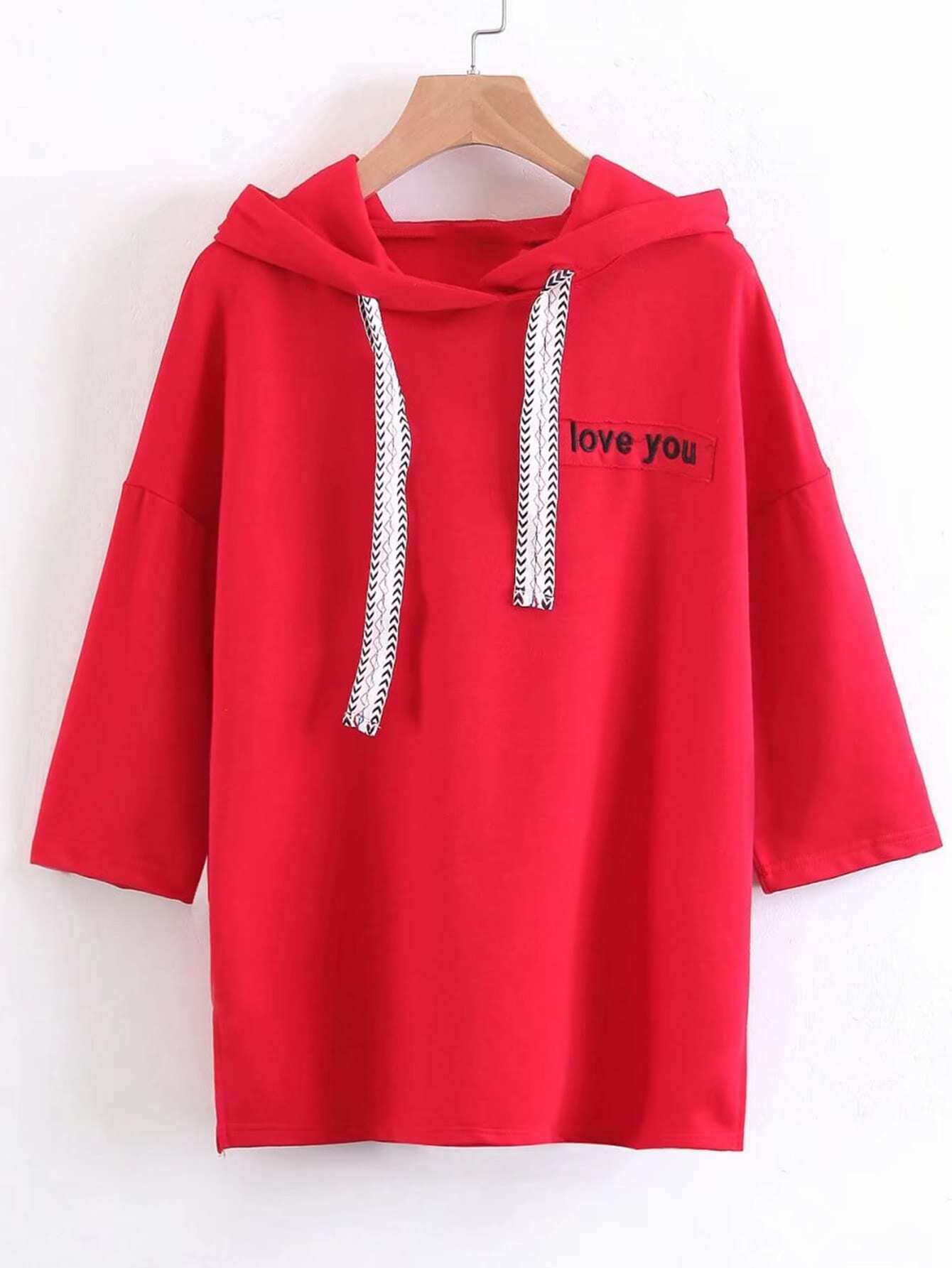 Slogan Patch Side Slit Hoodie