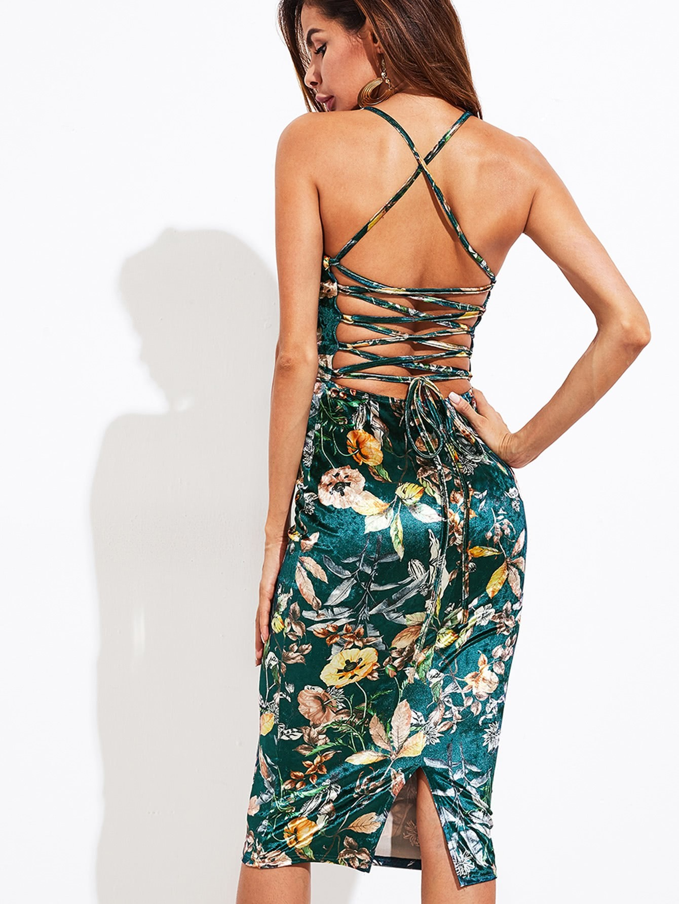 Lace Up Back Botanical Velvet Cami Dress cami velvet casual maxi dress