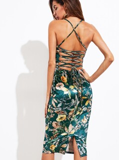 Lace Up Back Slit Floral Velvet Cami Dress