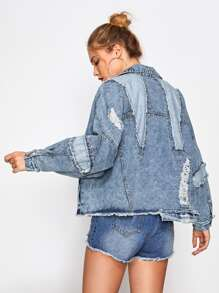 Destroyed Dropped Shoulder Denim Jacket