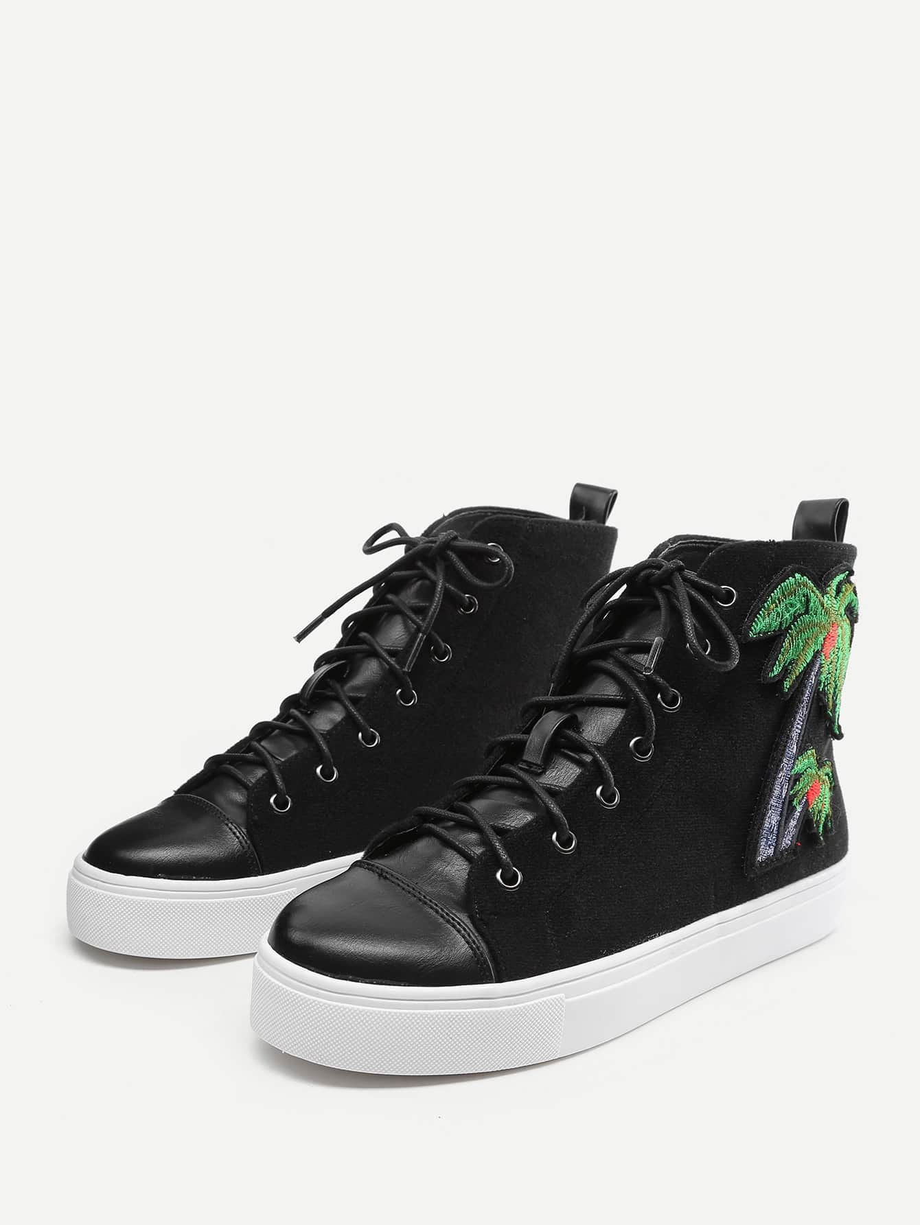 Palm Tree Embroidery High Top Trainers