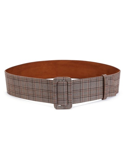 Plaid Print Buckle Belt