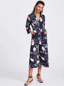 Piping Detail Half Placket Pajama Jumpsuit
