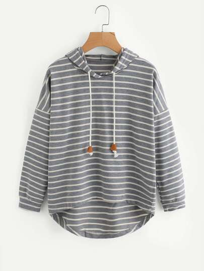 Drop Shoulder High Low Striped Hoodie