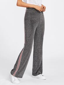 Striped Tape Side Glitter Pants