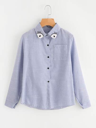 Eye Patch Neck Striped Shirt