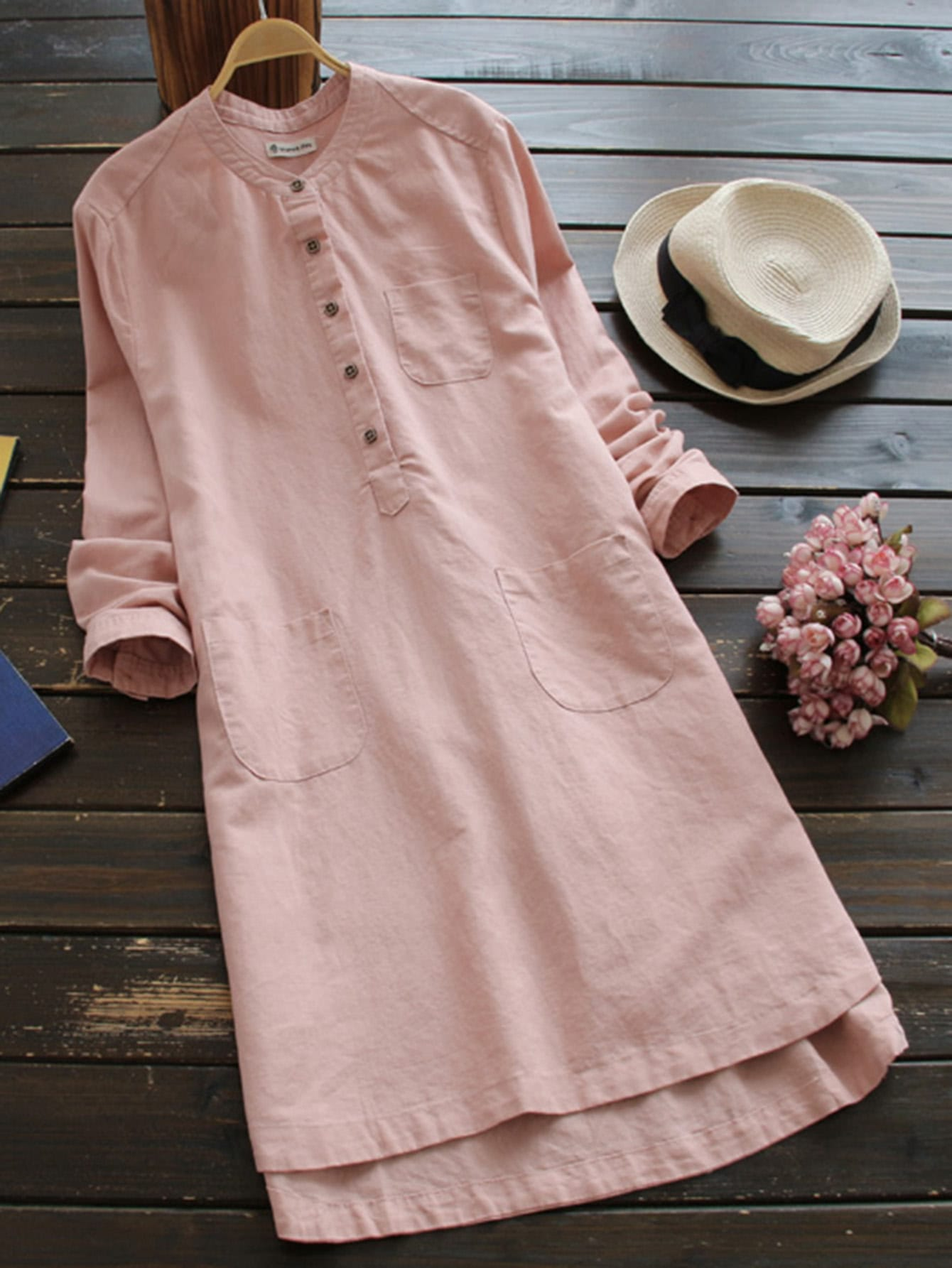 Half Placket Multi Pocket Shirt Dress