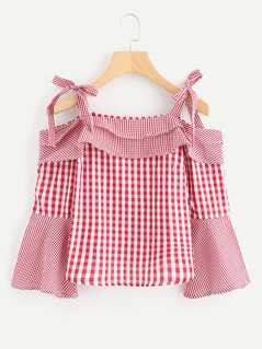 Self Tie Open Shoulder Gingham Blouse