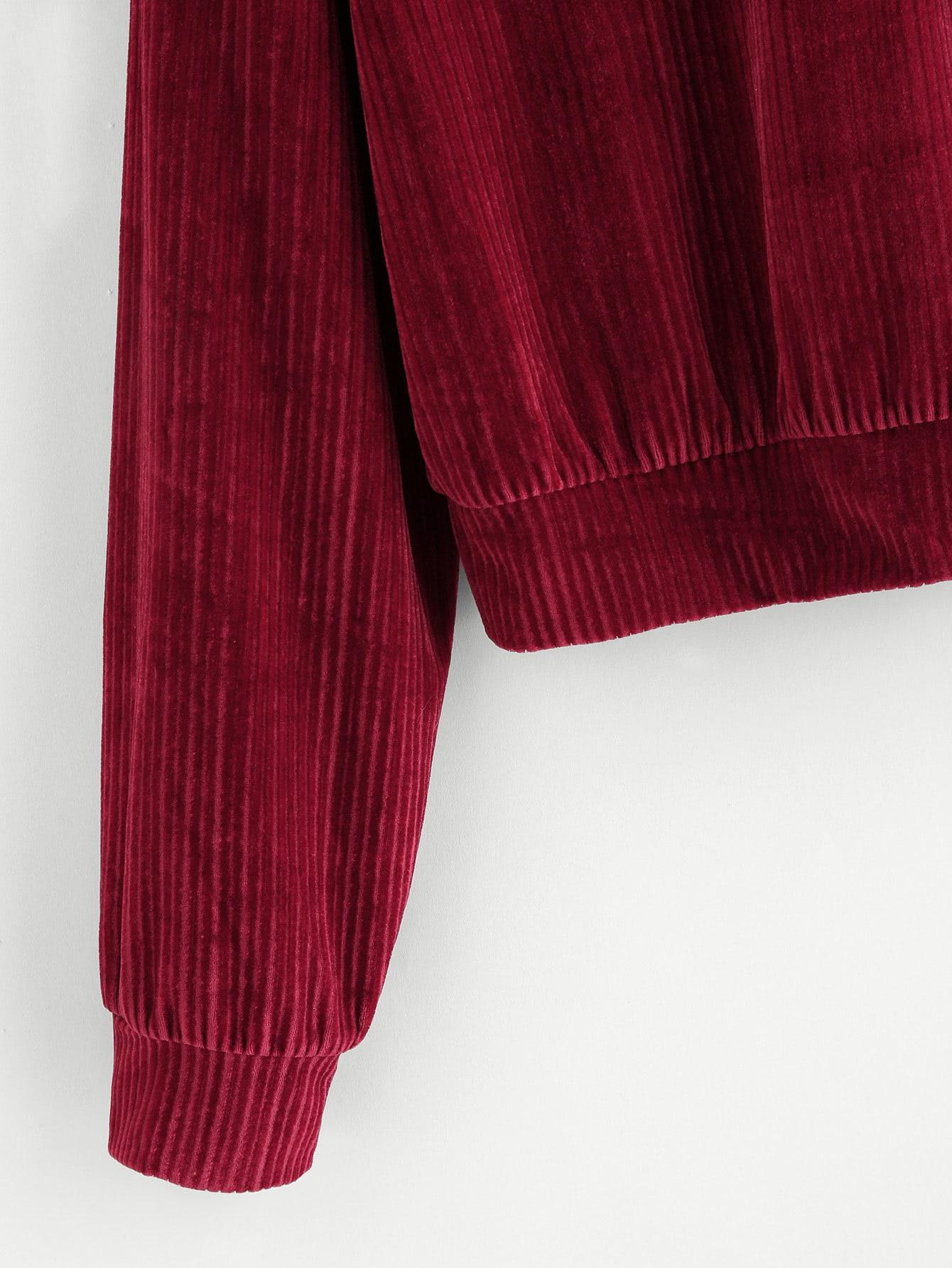 Drop Shoulder Ribbed Velvet Sweatshirt