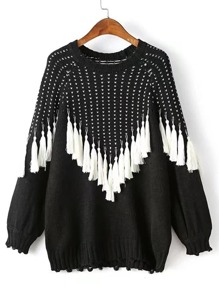 Tassel Design Raglan Sleeve Sweater