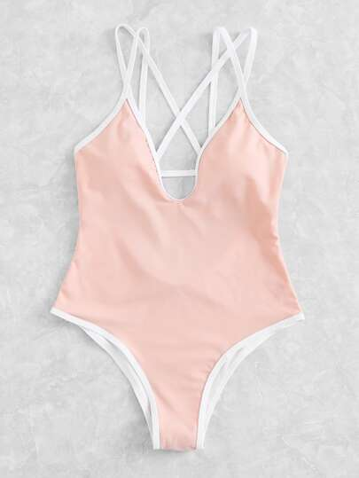 Criss Cross Plunge Swimsuit