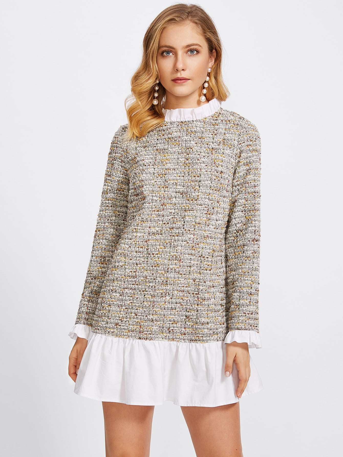 Frill Detail 2 In 1 Tweed Dress frill layered pearl detail sweatshirt dress