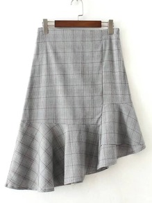 Asymmetrical Flared Hem Plaid Skirt