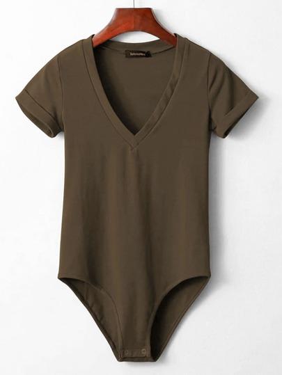 V Neckline Rolled Cuff Bodysuit
