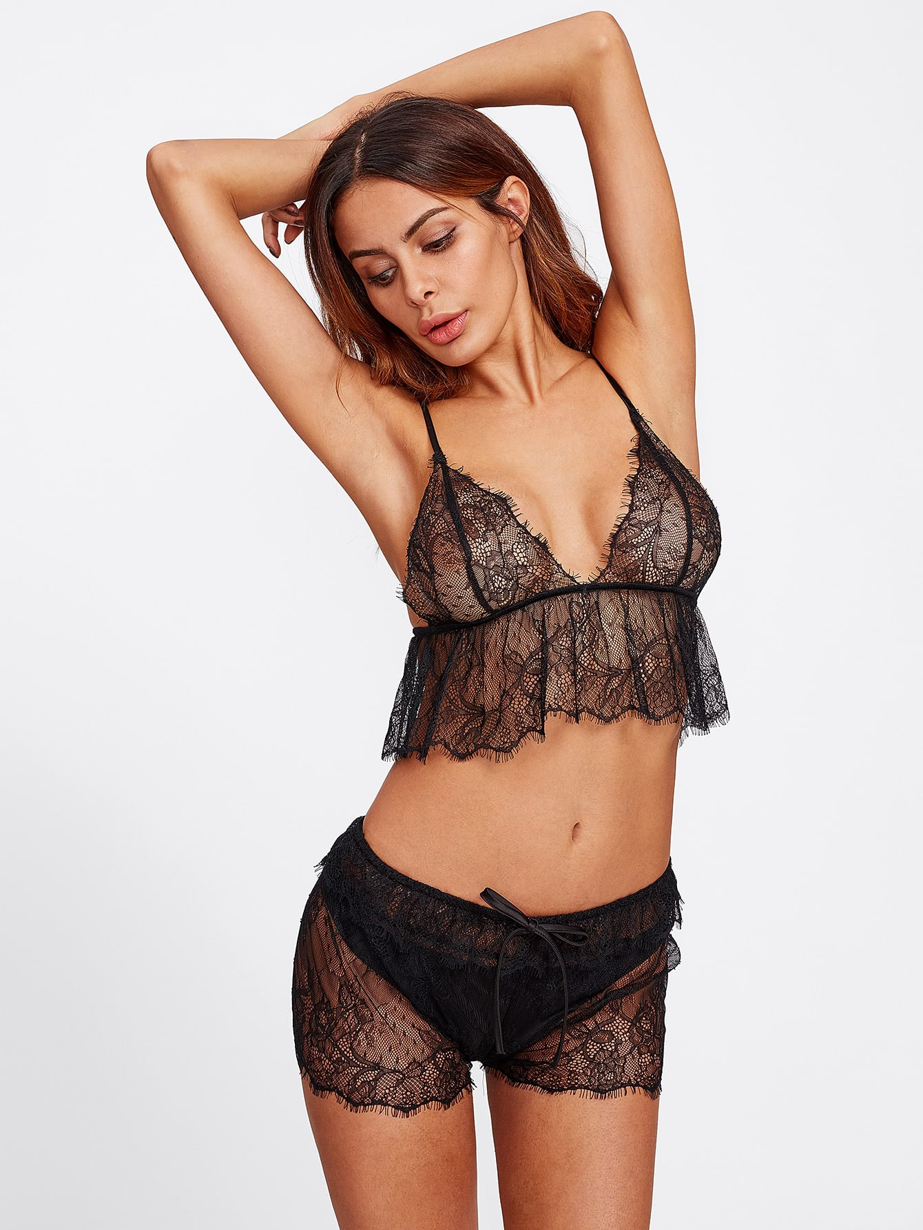 Crop Eyelash Lace Cami & Tied Shorts Pajama Set contrast lace cami with shorts pajama set