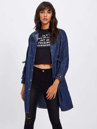 Drawstring Waist Denim Coat