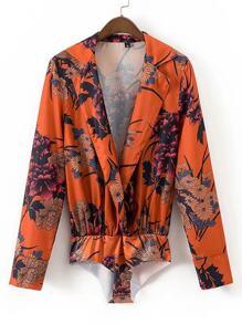 Flower Print Plunge Neckline Blouse Bodysuit