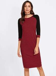 Raglan Sleeve Curved Hem Striped Dress