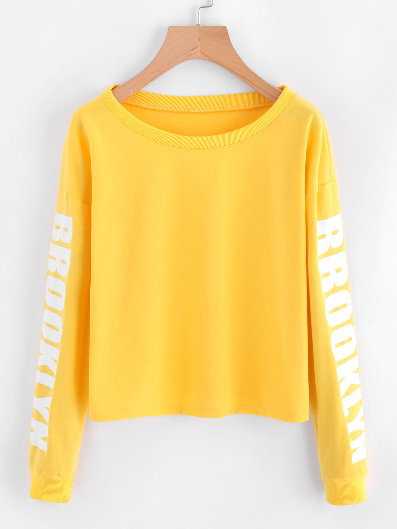 Drop Shoulder Letter Print Crop Sweatshirt drop shoulder plain distressed crop sweatshirt