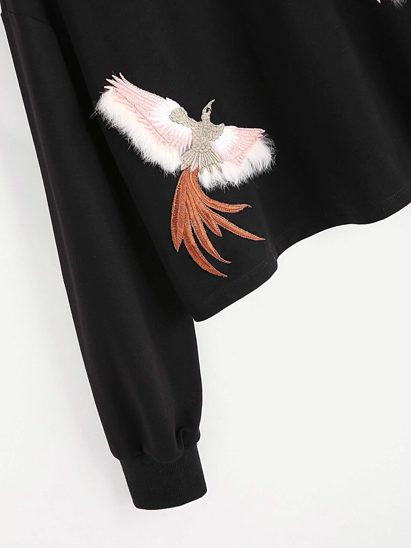 Embroidered Bird Patch Sweatshirt
