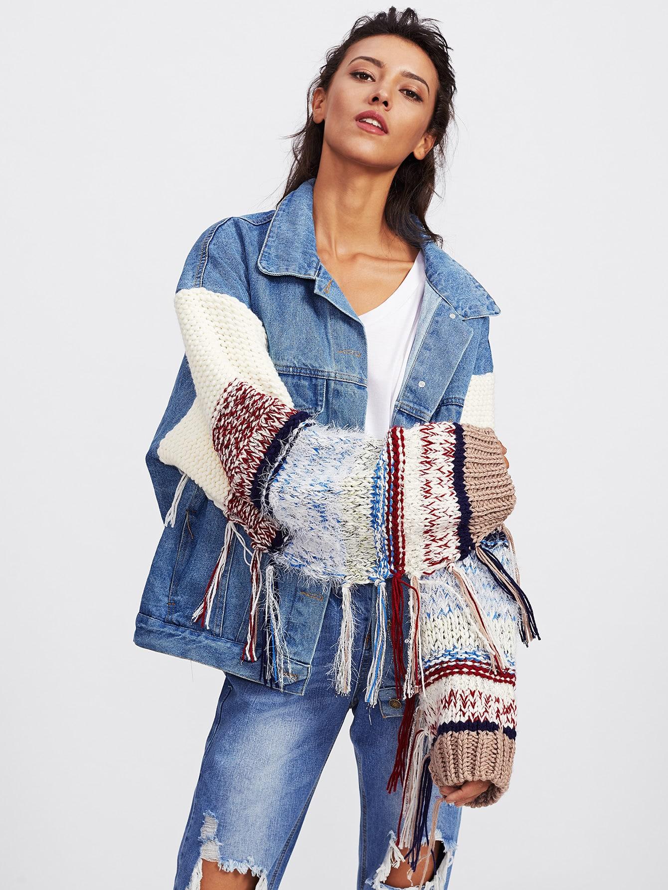 Image of Contrast Knit Sleeve Denim Jacket