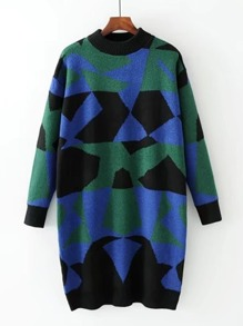 Ribbed Trim Patchwork Sweater Dress