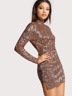 Sequined High Neck Dress ROSE GOLD