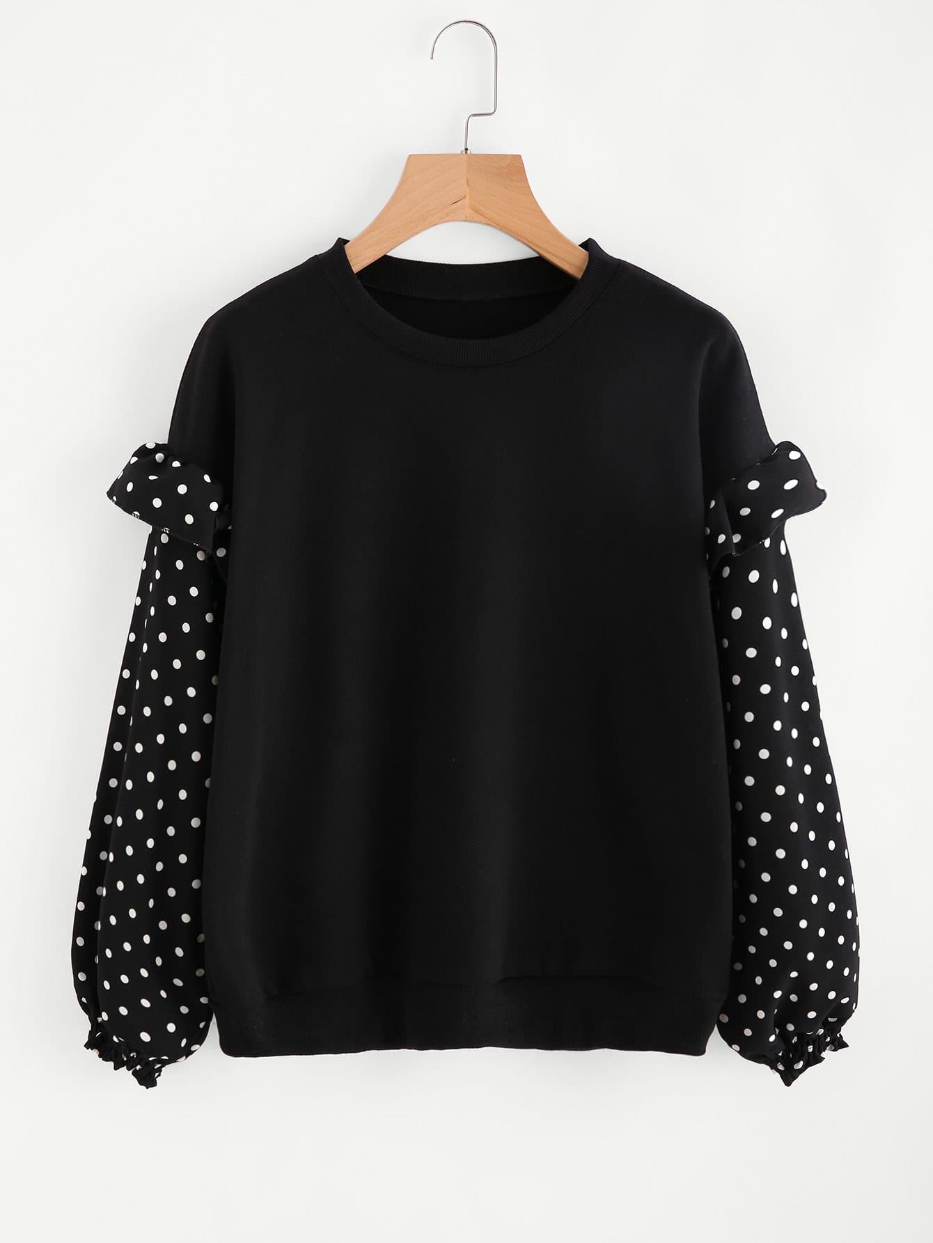Frill Trim Dotted Sleeve Sweatshirt frill sleeve tape detail sweatshirt