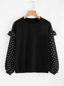 Frill Trim Dotted Sleeve Sweatshirt