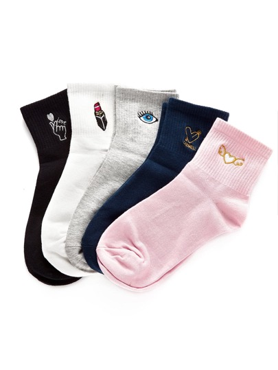 Embroidery Detail Ankle Socks 5pairs