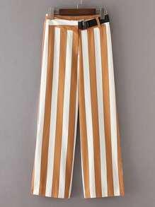 Block Striped Ring Belt Straight Pants