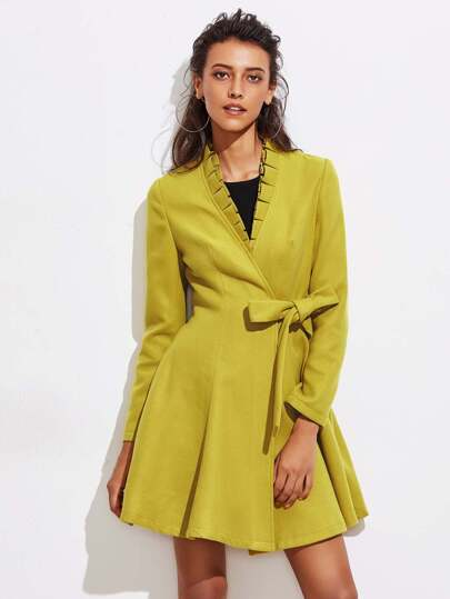 Pleated Ruffle Neck Self Tie Skirted Coat