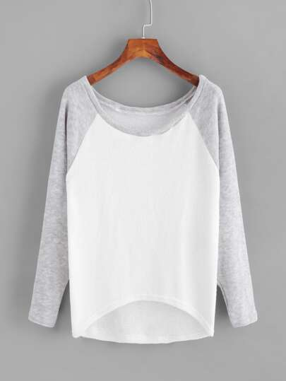 Contrast Raglan Sleeve Dip Hem Knit Sweater