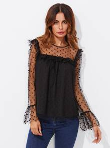 Dot Mesh Overlay Frill Detail Fluted Cuff Top