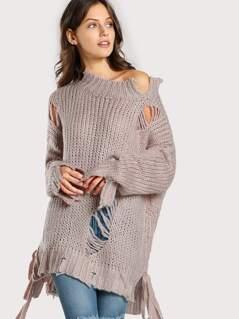 Distressed Knitted Sweater MAUVE
