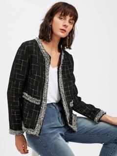 Frayed Trim Open Front Grid Tweed Blazer