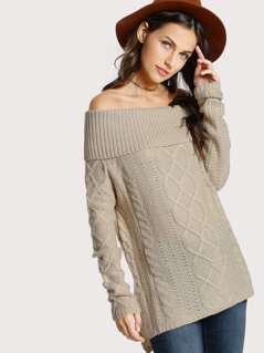 Off Shoulder Rib Knit Sweater BEIGE