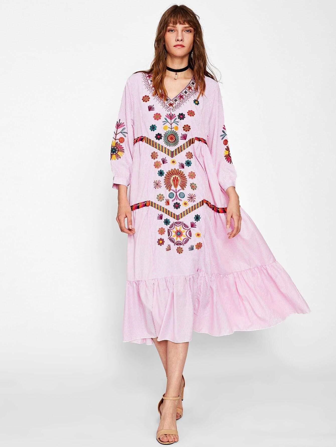 Contrast Fringe Trim Embroidered Frill Hem Vertical Striped Dress dress170904001