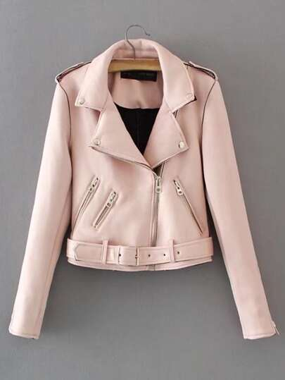 Oblique Zipper Suede Jacket With Belt
