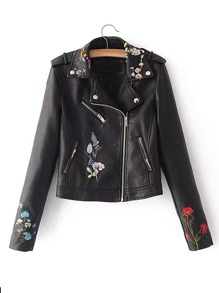 Embroidered Detail Biker Jacket