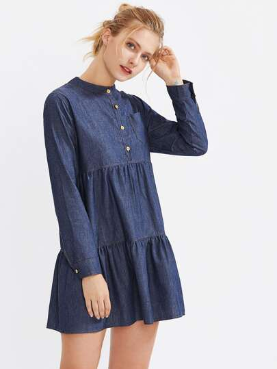Tiered Denim Dress With Chest Pocket