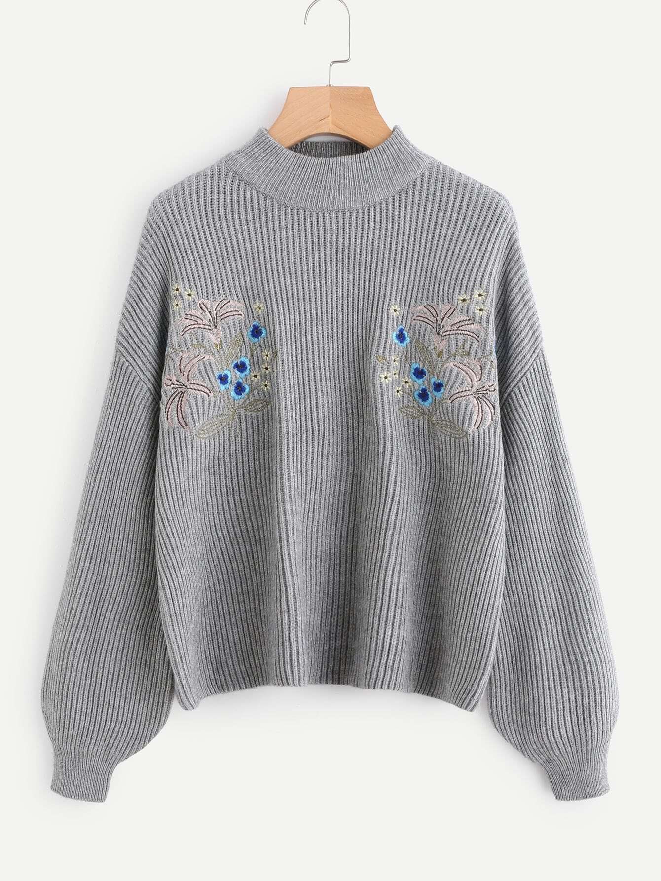Symmetrical Embroidered Front Dropped Shoulder Ribbed Knit Jumper sweater170928455