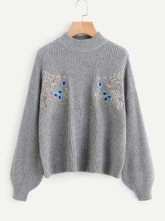 Symmetrical Embroidered Front Dropped Shoulder Ribbed Knit Jumper